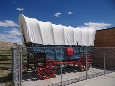 Wyoming - Oregon Trail - Independence Rock - Planwagen